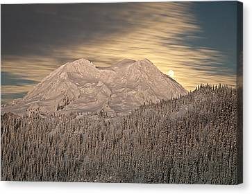 Mount Rainier Full Moonrise Winter Canvas Print by Ed Book