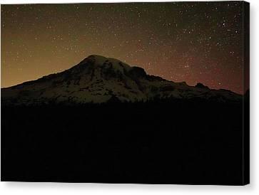 Mount Rainier Night Sky Canvas Print