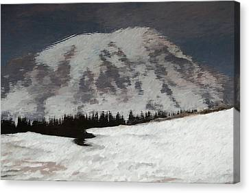 Mount Rainier Reflection In Spring Canvas Print by Dan Sproul