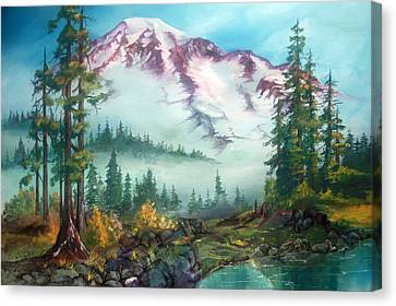 Canvas Print featuring the painting Mount Rainier by Sherry Shipley