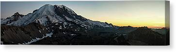 Mount Rainier Sunset Light Panorama Canvas Print by Mike Reid