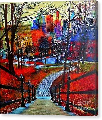 Canvas Print featuring the painting Mount Royal Peel's Exit by Marie-Line Vasseur