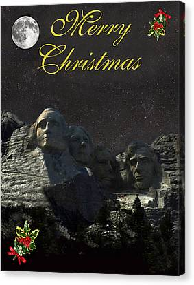 Mount Rushmore Merry Christmas Canvas Print by Eric Kempson