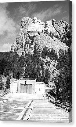 Mount Rushmore National Monument Overlooking Amphitheater South Dakota Black And White Canvas Print by Shawn O'Brien