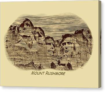 Mount Rushmore Woodburning 2 Canvas Print by John M Bailey