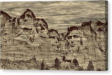 Mount Rushmore Woodburning Canvas Print by John M Bailey