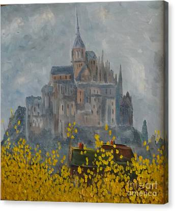 Canvas Print featuring the painting Mount Saint Michael by Rod Ismay