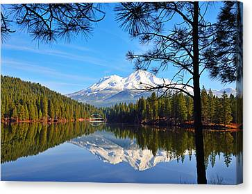 Mount Shasta Reflections On The Lake Canvas Print by Kathy Yates