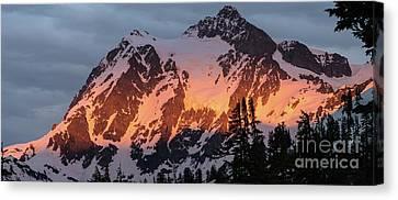 Mount Shuksan Brilliant Alpenglow Canvas Print by Mike Reid