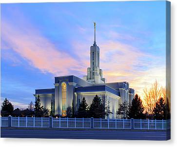 Mount Timpanogos Temple At Sunset Canvas Print