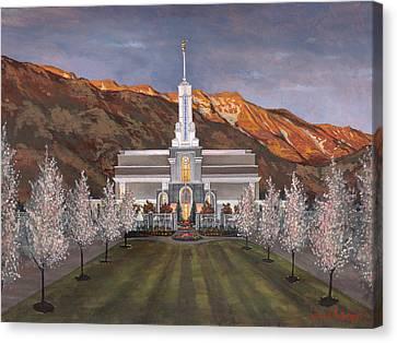 Mount Timpanogos Temple Canvas Print by Jeff Brimley
