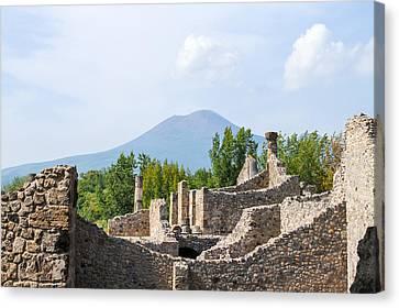 Mount Vesuvius Beyond The Ruins Of Pompei Canvas Print by Allan Levin