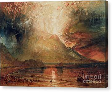Mount Vesuvius In Eruption Canvas Print by Joseph Mallord William Turner