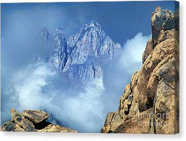 Canvas Print featuring the photograph Mount Whitney Clearing Storm Eastern Sierras California by Dave Welling