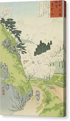 Mount Yoshino, Cherry Blossoms Canvas Print by Kobayashi Kiyochika