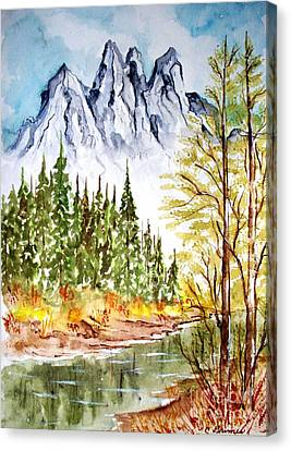 Mountain Alps Canvas Print by Carol Grimes