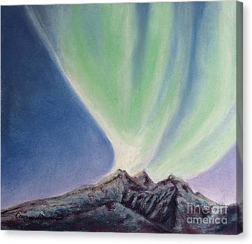 Canvas Print featuring the painting Mountain Aurora by Stanza Widen