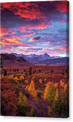 Mountain Autumn Sunrise Canvas Print by Andrew Soundarajan