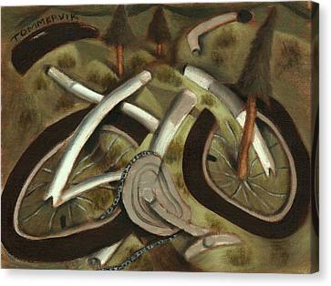 Canvas Print featuring the painting Tommervik Abstract Mountain Bike Art Print by Tommervik