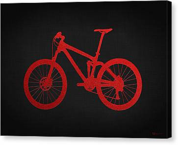 Mountain Bike - Red On Black Canvas Print by Serge Averbukh