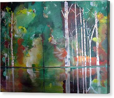 Canvas Print featuring the painting Mountain Birch by Gary Smith
