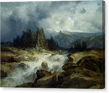 Mountain By Storm Torrent Canvas Print by Alexandre Calame