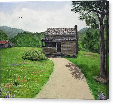 Canvas Print featuring the painting Mountain Cabin by Jimmie Bartlett