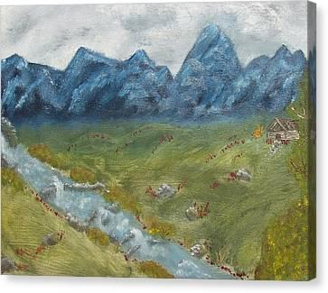 Mountain Cabin Canvas Print by Leiah Mccormick
