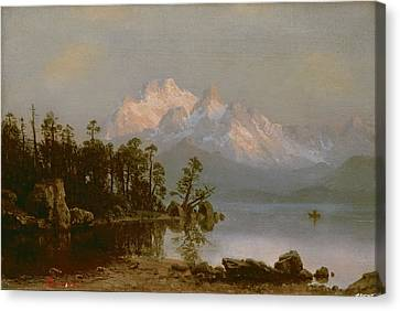 Mountain Canoeing Canvas Print by Albert Bierstadt
