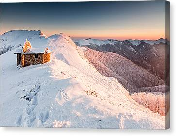 Mountain Chapel Canvas Print by Evgeni Dinev
