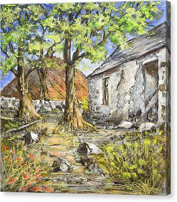 Mountain Cottage Canvas Print by Marty Garland