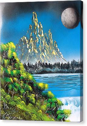 Canvas Print featuring the painting Mountain Falls by Greg Moores