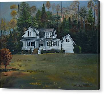 Canvas Print featuring the painting  Mountain Home At Dusk by Jan Dappen