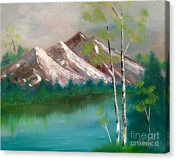 Canvas Print featuring the painting Mountain Lake by Denise Tomasura