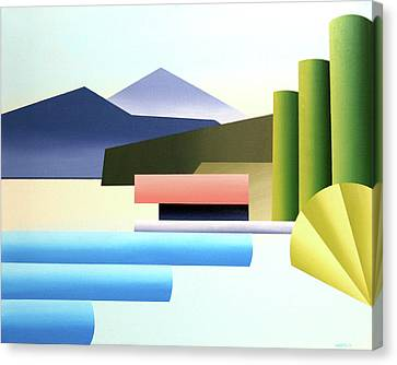 Daily Painter Canvas Print - Mountain Lake Dock Abstract Acrylic Painting by Mark Webster