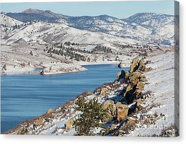 Mountain Lake In Winter Scenery Canvas Print
