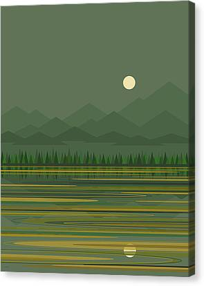 Canvas Print featuring the digital art Mountain Lake Moon by Val Arie