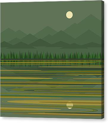 Canvas Print featuring the digital art Mountain Lake Moonrise by Val Arie