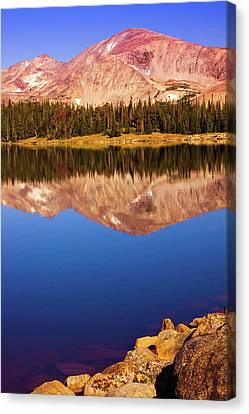 Canvas Print featuring the photograph Mountain Lake Reflections by John De Bord