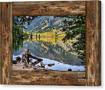 Cabin Window Canvas Print - Mountain Lake Rustic Cabin Window View by James BO Insogna