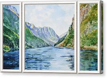 Beach Theme Decorating Canvas Print - Mountain Lake View Window  by Irina Sztukowski