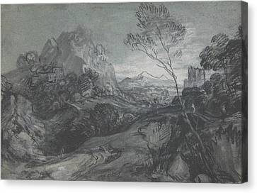 Landscape With Figure Canvas Print - Mountain Landscape With Figures And Buildings by Thomas Gainsborough