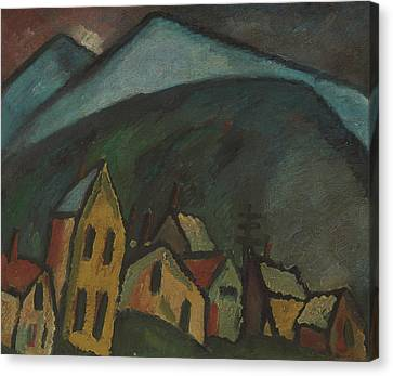 Mountain Landscape With Houses Canvas Print