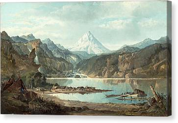 Mountain Landscape With Indians Canvas Print by John Mix Stanley