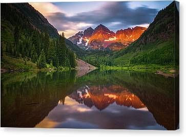 Canvas Print featuring the photograph Mountain Light Sunrise by Darren White