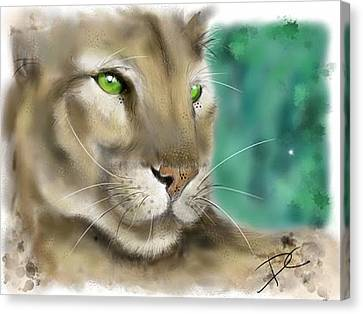 Canvas Print featuring the digital art Mountain Lion by Darren Cannell