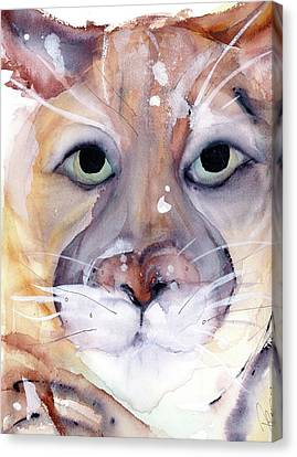 Canvas Print featuring the painting Mountain Lion by Dawn Derman