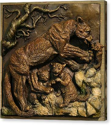 Canvas Print featuring the sculpture Mountain Lion Mother With Cubs by Dawn Senior-Trask