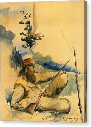 Canvas Print featuring the drawing Mountain Man by Charles Schreyvogel