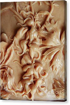 Mountain Meadow Original Clay Relief - Elephanthead Detail Canvas Print by Dawn Senior-Trask